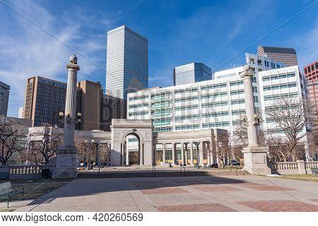 Denver Civic Center Park And City Skyline Of Downtown Denver, Colorado