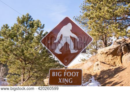 Big Foot Crossing Sign In The Wilderness Of Colorado