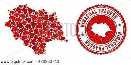 Collage Himachal Pradesh State Map Created From Red Love Hearts, And Rubber Badge. Vector Lovely Rou