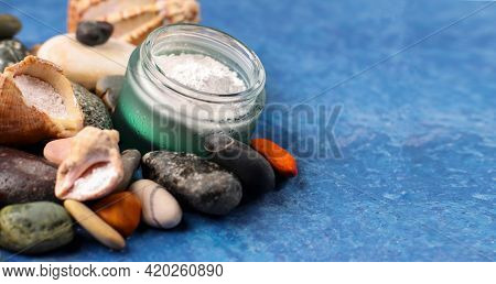 Natural Supplement. Marine Collagen Powder On The Background Of Stones. Healthy Lifestyle Concept. H