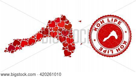 Mosaic Koh Lipe Map Created With Red Love Hearts, And Rubber Seal Stamp. Vector Lovely Round Red Rub