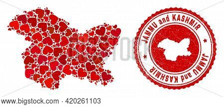 Mosaic Jammu And Kashmir State Map Created With Red Love Hearts, And Dirty Stamp. Vector Lovely Roun