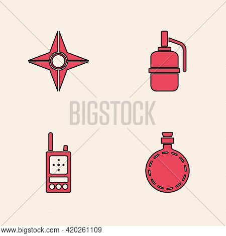 Set Canteen Water Bottle, Japanese Ninja Shuriken, Hand Grenade And Walkie Talkie Icon. Vector