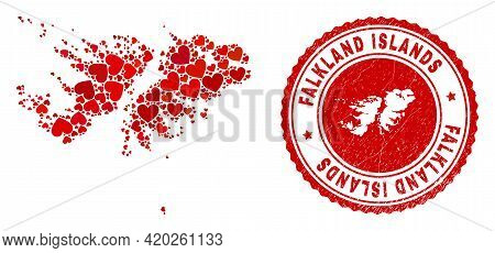Collage Falkland Islands Map Composed From Red Love Hearts, And Unclean Seal Stamp. Vector Lovely Ro
