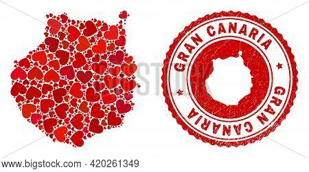 Collage Gran Canaria Map Created With Red Love Hearts, And Corroded Seal Stamp. Vector Lovely Round