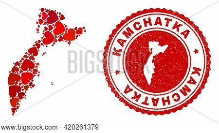 Mosaic Kamchatka Map Formed With Red Love Hearts, And Rubber Seal. Vector Lovely Round Red Rubber Se