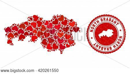 Mosaic North Brabant Province Map Created From Red Love Hearts, And Textured Seal Stamp. Vector Love