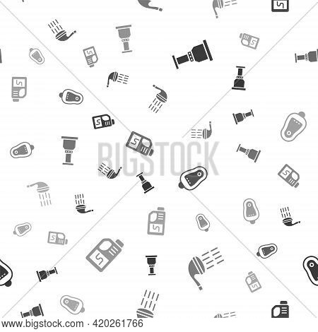 Set Pipe Adapter, Shower, Toilet Urinal Or Pissoir And Drain Cleaner Bottle On Seamless Pattern. Vec
