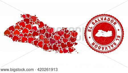 Collage El Salvador Map Designed From Red Love Hearts, And Dirty Badge. Vector Lovely Round Red Rubb