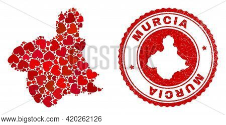 Collage Murcia Province Map Created From Red Love Hearts, And Rubber Stamp. Vector Lovely Round Red