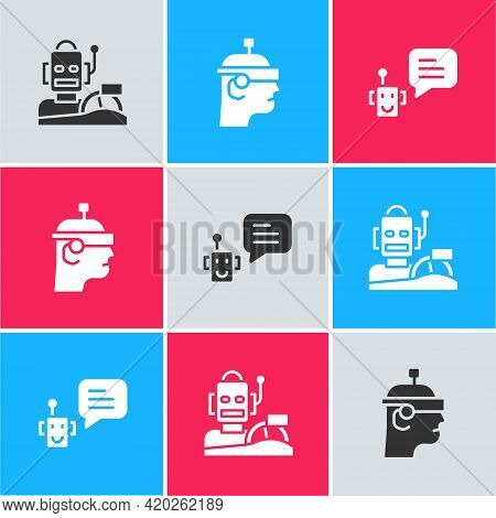 Set Robot Humanoid Driving A Car, Smart Glasses And Bot Icon. Vector