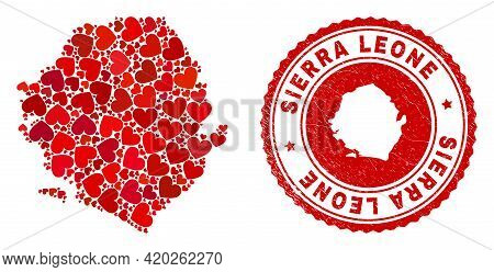 Collage Sierra Leone Map Created From Red Love Hearts, And Rubber Stamp. Vector Lovely Round Red Rub