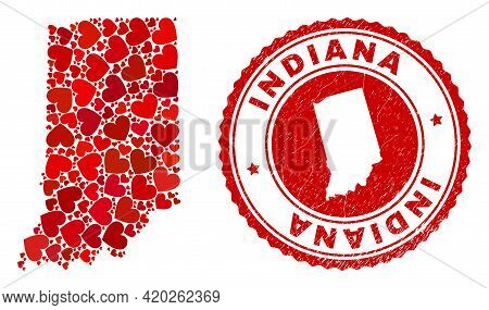 Mosaic Indiana State Map Formed With Red Love Hearts, And Corroded Seal Stamp. Vector Lovely Round R
