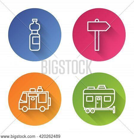 Set Line Bottle Of Water, Road Traffic Signpost, Rv Camping Trailer And Rv Camping Trailer. Color Ci