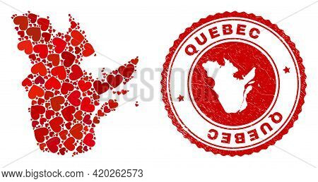Mosaic Quebec Province Map Composed With Red Love Hearts, And Corroded Stamp. Vector Lovely Round Re