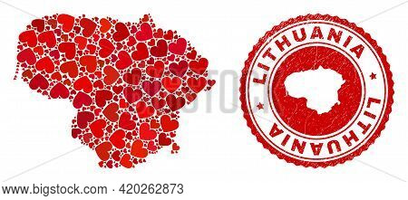Mosaic Lithuania Map Designed With Red Love Hearts, And Unclean Badge. Vector Lovely Round Red Rubbe
