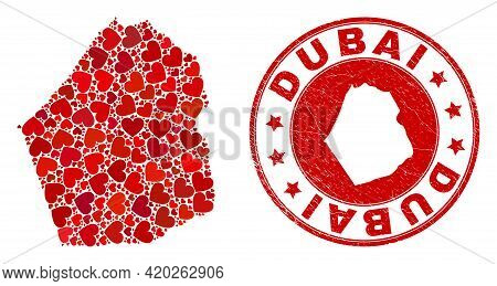 Collage Dubai Emirate Map Created With Red Love Hearts, And Textured Badge. Vector Lovely Round Red