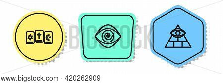 Set Line Three Tarot Cards, Hypnosis And Masons. Colored Shapes. Vector