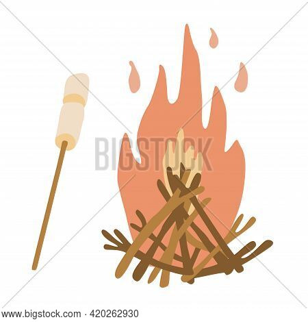 Campfire. Fire Flame And Branches. Hand Drawn Vector Illustration Of A Bonfire With Marshmallow On A