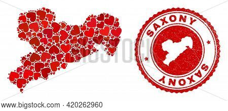 Mosaic Saxony Land Map Composed With Red Love Hearts, And Unclean Stamp. Vector Lovely Round Red Rub