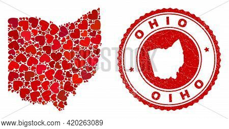 Collage Ohio State Map Designed From Red Love Hearts, And Rubber Stamp. Vector Lovely Round Red Rubb