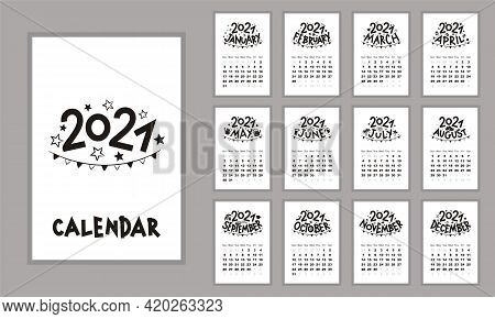 Calendar 2021. Monthly Themed Calendar. Template With Seasonal Themed Titles. Blanks For 12 Months.