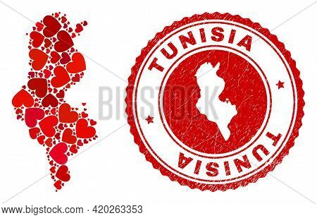 Collage Tunisia Map Created With Red Love Hearts, And Textured Seal Stamp. Vector Lovely Round Red R
