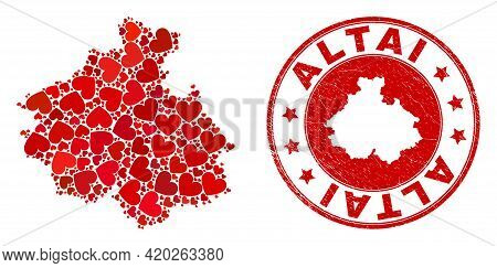 Mosaic Altai Republic Map Formed From Red Love Hearts, And Rubber Badge. Vector Lovely Round Red Rub