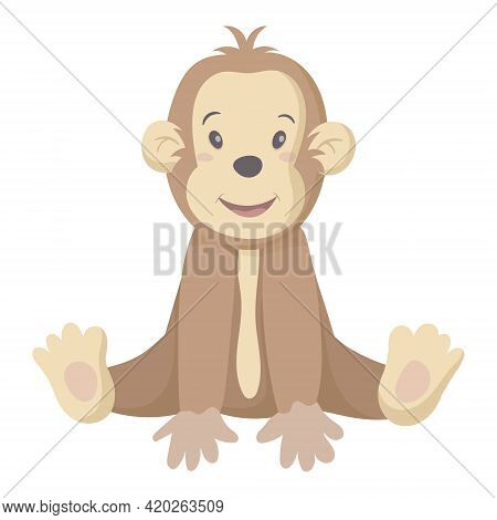 Vector Isolated Illustration On White Background. Children Picture Of A Cute Baby Monkey Or Chimpanz