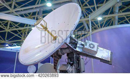 White Rotating Satellite Dish Antenna, Vsat Parabolic Receiver Using To Receive Or Transmit Informat