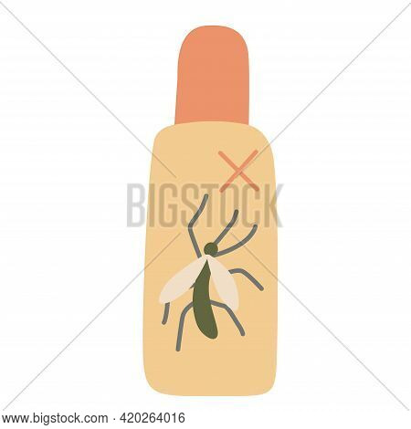 Insects Repellent Spray. Hand Drawn Flat Vector Illustration Isolated On White Background.  Camping