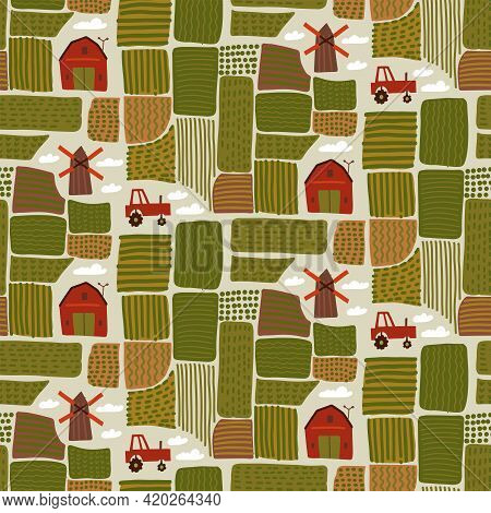 Countryside Landscape Map Seamless Pattern. Farm View From Above. Fields, Houses, Buildings, Roads,