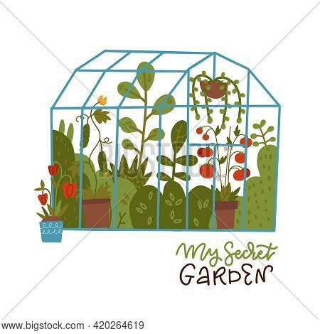 Lettering Print - My Secret Garden. Glass Greenhouse With Plants Growing In Pots Or Planters. Vector