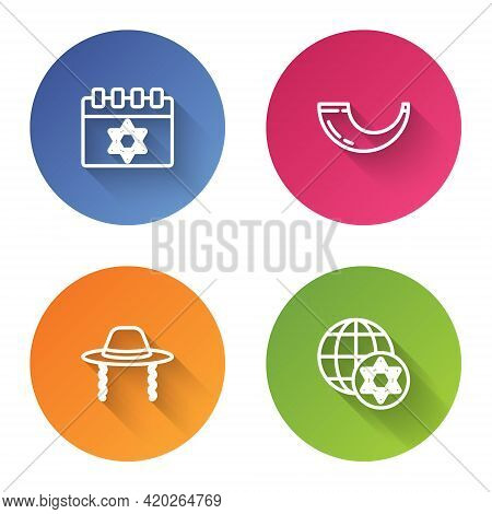 Set Line Jewish Calendar, Traditional Ram Horn, Shofar, Orthodox Jewish Hat And World Globe And Isra