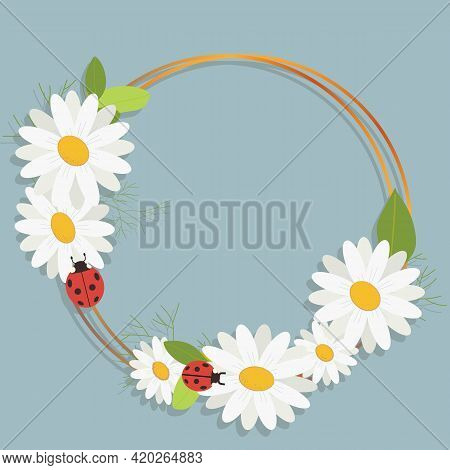 Chamomile With A Gold Frame On A Blue Background. Vector Image