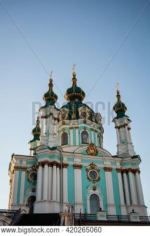 Beautiful Baroque St. Andrew\'s Church Or The Cathedral Of St. Andrew Was Built In Kyiv Between 1747