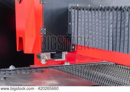 Automatic Cnc Laser Cutting Machine Working With Sheet Metal At Factory, Plant. Metalworking, Machin