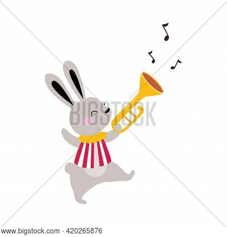 Circus Hare Animal Walking And Playing Trumpet Performing Trick Vector Illustration