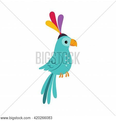 Circus Parrot With Bright Plumage On Its Hat Performing Trick Vector Illustration