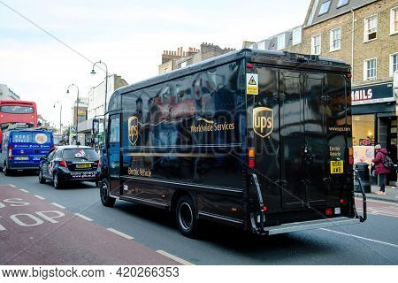 London, United Kingdom - March 9, 2017: Rear View Of Electric Vehicle Ups United Parcel Services Pos