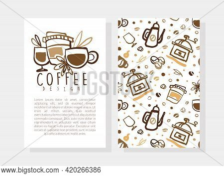 Coffee Card Design Template With Text, Coffee Shop, Cafe Business Card, Brochure, Flyer With Aroma B