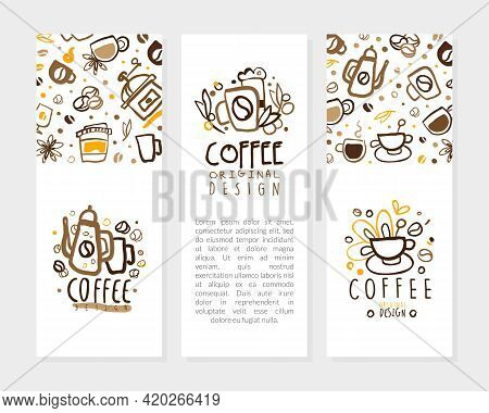 Coffee Card Templates With Text Set, Coffee Shop, Cafe Banner, Poster, Business Card, Menu Page With