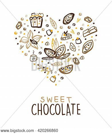 Sweet Chocolate Banner Template, Tasty Choco Desserts Poster, Card With Cocoa Beans And Sweets Seaml