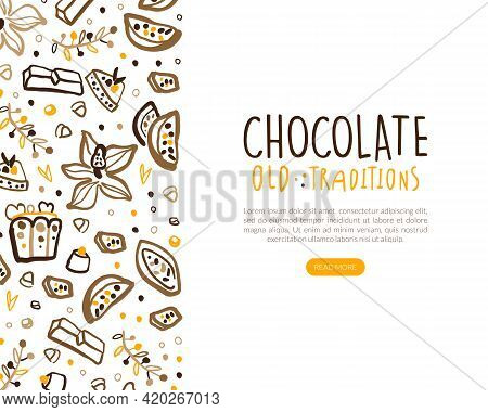 Chocolate Old Traditions Landing Page Template, Sweet Desserts Website Interface With Cocoa Beans An