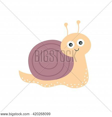 Cute Snail Icon Flat Or Cartoon Style Isolated On White Background, Vector Illustration