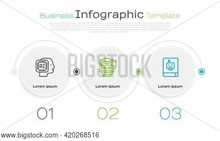 Set Line Humanoid Robot, Robot And User Manual. Business Infographic Template. Vector