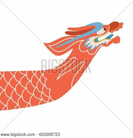 Dragon Boat Symbol. Dragon Head Boat Bow Isolated Vector Illustration.