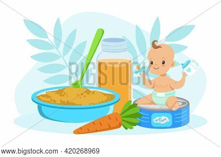 Adorable Smiling Little Boy With Food, Toddler Baby Eating Baby Meals Vector Illustration