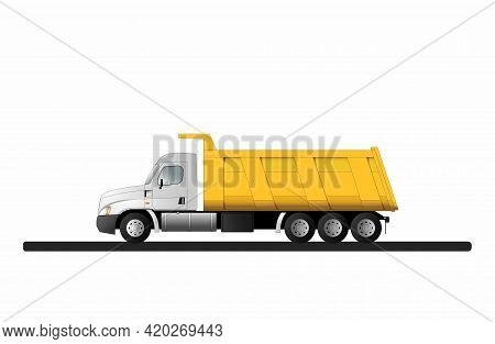 American Truck Dump Truck For The Transportation Of Bulk Cargo With A Lifting Capacity Of 40 Tons. F