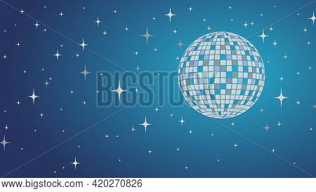 Disco Ball Vector Lltustration. Night Party Background. Nightlife.